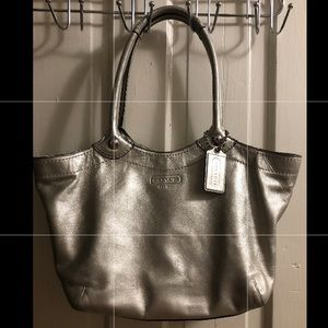 Silver Leather Coach Purse